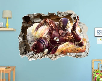 FLASH DC  3d Wall Sticker Smashed Super Hero Bedroom Removable Kids Boy ART Cool video game movie