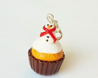 Snowman Cupcake Charm - Polymer Clay Food Jewelry Cupcake Charm - Miniature Food Jewelry - Christmas Charm Jewelry - Cupcake Jewelry