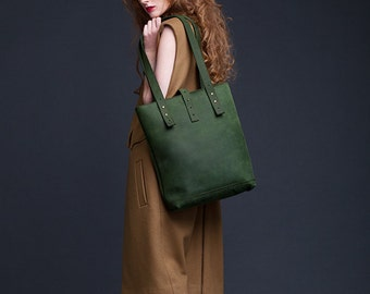 Green Leather Tote Bag / Women Handbag / Genuine Leather Shopper Bag / Leather Handbag / Leather Ladies Shoulder Bag