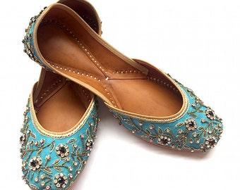 Firozi Phoolon Ki Chaadar - Turquoise Blue Hand Embroidered Flower Indian Bridal Flat Shoes from Enhara - Ballet Flats/Wedding Women Shoes