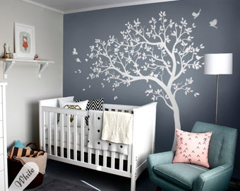 White tree wall decals nursery large wall decal kids room wall for Pochoir mural geant