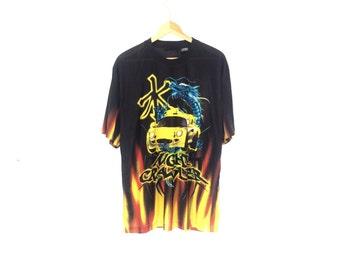 NIGHT CRAWLER SHIRT // 90s // X-Large // Vaporwave // Club Kid // Cyber Shirt // Pit Crew // Cyber // Cybergoth // Digital // Silky // 90s
