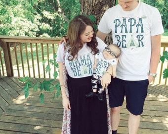MAMA, PAPA, BABY Bear Family shirts / Baby Bear shirt /creeper/one piece / Papa Bear / Mama Bear / Father's Day / Custom Name bodysuit