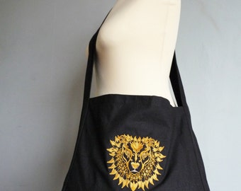 Custom Embroidered Lion Messenger Bag- Eco Friendly Reusable Bag