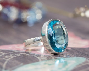 SALE- Blue topaz and sterling silver ring - blue gemstone ring / statement ring / topaz ring / blue topaz stone / large gemstone ring