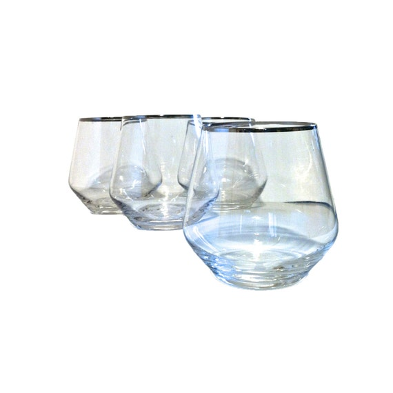 Vintage wine glasses hand blown wine glasses by sunflowerbend - Hand blown stemless wine glasses ...