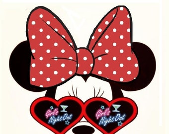 Girls Night Out-Minnie Mouse-Iron On T-Shirt Transfer-Hen Party-Birthday-Image Transfers.