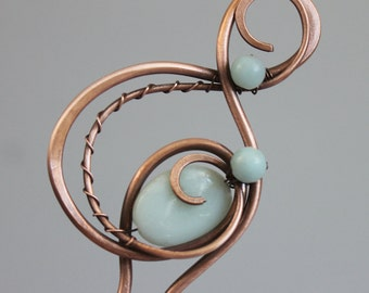 Copper Hair Stick Hair Fork with Powder Blue Amazonite Stones, Copper Hair Pin, Unique Hair Accessories for Women, Copper Jewelry