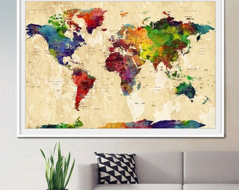 World map art etsy world map large world map watercolor world map world map art wall gumiabroncs Image collections