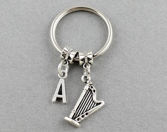 SRA 198392 Personalized Harp Keychain//Initial Harp Key Ring//Harpist Gifts Under 20 Dollars//Gift For A Harpist/Harper//Initial Key Chain