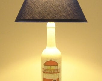 Lighthouse Bottle Lamp | Upcycled Wine Bottle Table Lamp