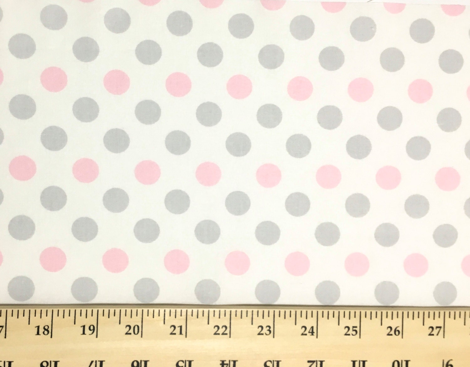 Pink and gray dots fabric pastel polka dots on white for for Grey baby fabric