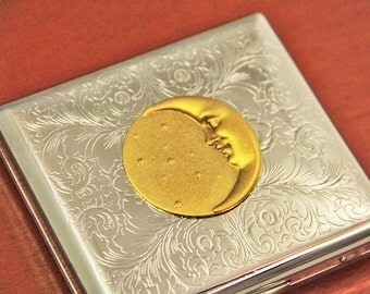 Moon Metal Wallet 24kt Gold Cigarette Case Holder Mens Gifts Ideas Anituqed Gold Steampunk Accessory Smoking Gifts and Gift Ideas Birthday