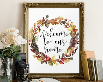 Rustic home decor, Rustic prints, Rustic welcome sign, Welcome, Welcome poster, Housewarming gift, Welcome signs, Front door sign, BD-836