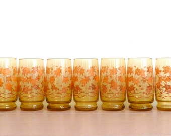 Vintage Mid Century Amber Drinking Glasses with Fall Leaf Design--Set of 7