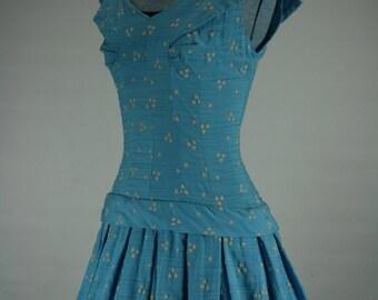1950s XS/S Flocked Shantung Heart Blue Drop Waist Dress 36/26/F