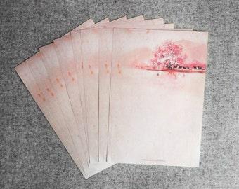 Flower, vintage letter paper
