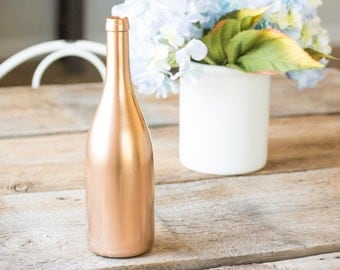 Copper Wine Bottle Wedding Centerpiece Decor Painted Table Display