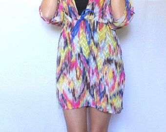 Women's Swim Coverup, Multi Colored Swimsuit Coverup, Swim Dress