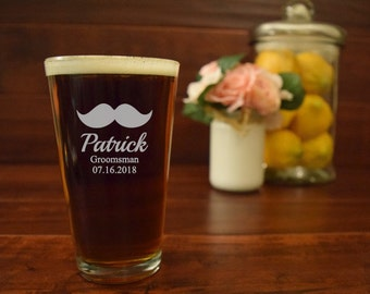 Groomsman Pint Glass, Mustache Beer Glass, Groomsmen Beer Mugs, Gifts for Groomsmen, Bachelor Party, Engraved Beer Mugs, Etched Pint Glasses