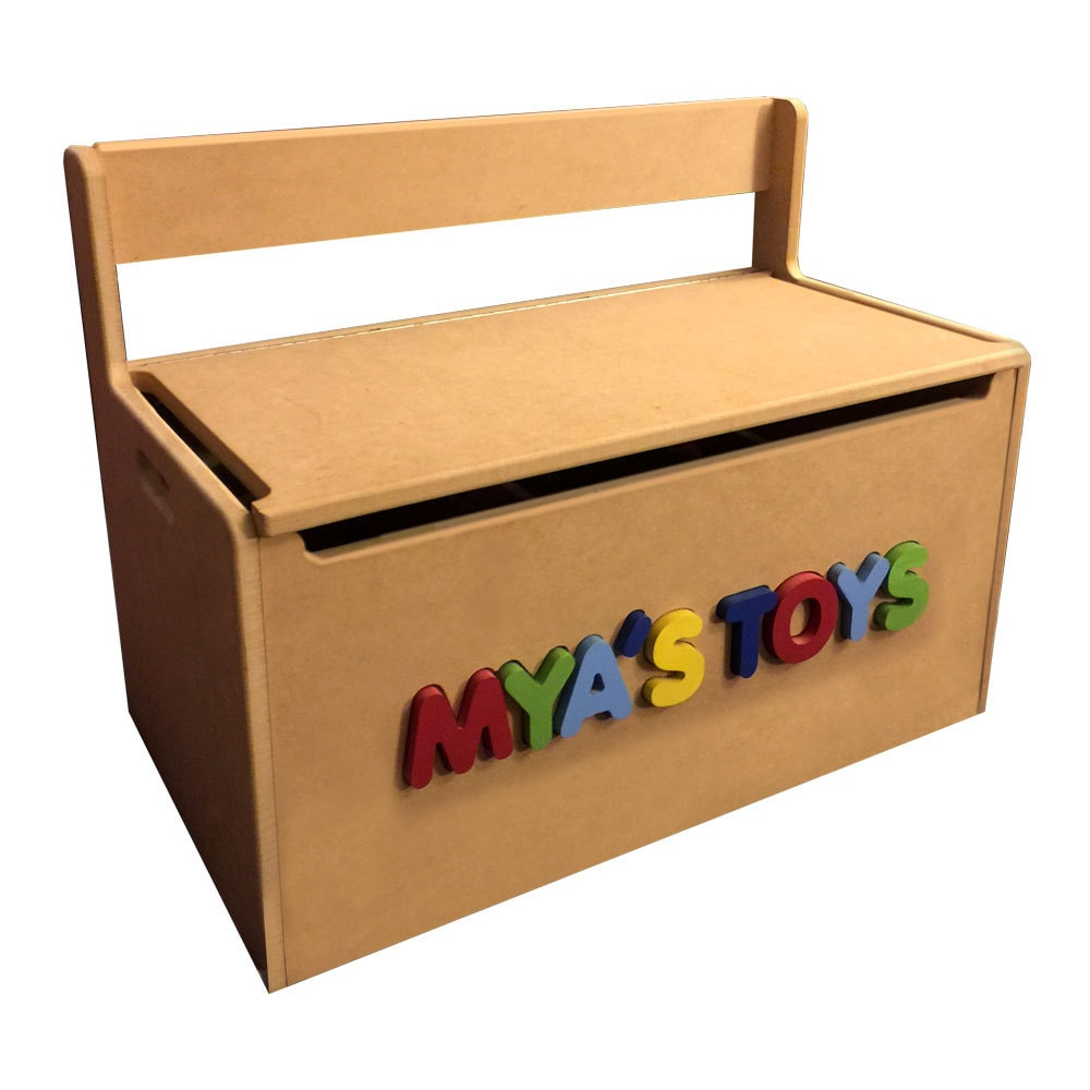 Personalized Wooden Toy Storage Box Bench Seat With 3d