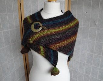 fall knitted shawl, multi-color shawl, shawl with wood pin, knit wool-mix wrap, brown/gold/purple/green wool wrap, OOAK shawl, shawl and pin