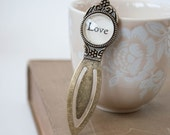 Love Bookmark, Antiqued Brass Metal Bookmark, Durable Bookmark, Budget Stocking Stuffers, 502008