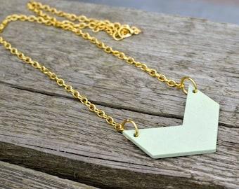 Green Chevron Necklace, Wooden Chevron Necklace, Chevron Pendant, Gold Chevron Necklace.