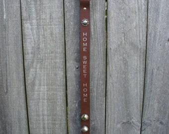 Leather Door Hanger | Home Sweet Home | Front Door Decor