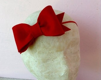 Scarlet Sunday Bow, 100% Wool Felt