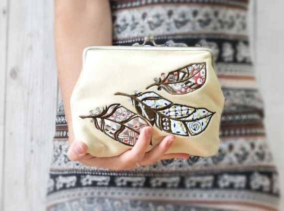 Feather clutch bag, Boho clutch purse, Carryall bag, Cream clutch, Everyday bag clutch, Evening clutch, Clasp clutch Embroidered bag purse