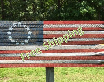 Rustic American Flag (13 Stars) Constructed from Vintage Tobacco Sticks (Free Shipping)