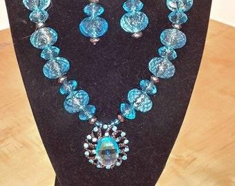 Women's Blue Chunky Acrylic Bead Necklace - Large Blue Pendant Necklace - Women's Blue Jewelry Set - Women's Blue Necklace - Chunky Necklace