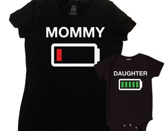 Mom And Daughter Matching Shirts Mommy And Me Clothing Mommy and Daughter Outfits Family Shirts Battery Empty Full Bodysuit - SA648-650