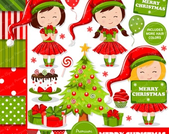 Christmas clipart, Christmas girl clipart, Christmas, Clip art, Girl clipart, Christmas elf clipart - CL120