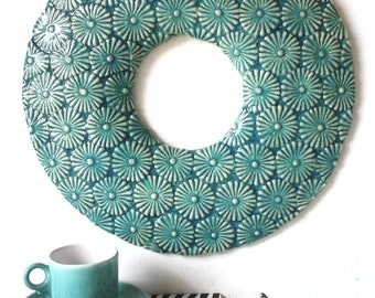 Round turquoise wall sculpture blue beach art embossed floral pattern wall hanging aqua 3d ceramic coastal Mediterranean style gallery wall