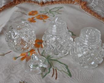 Vintage Czech Glass Trio -  Salt Pepper & Mustard Pot