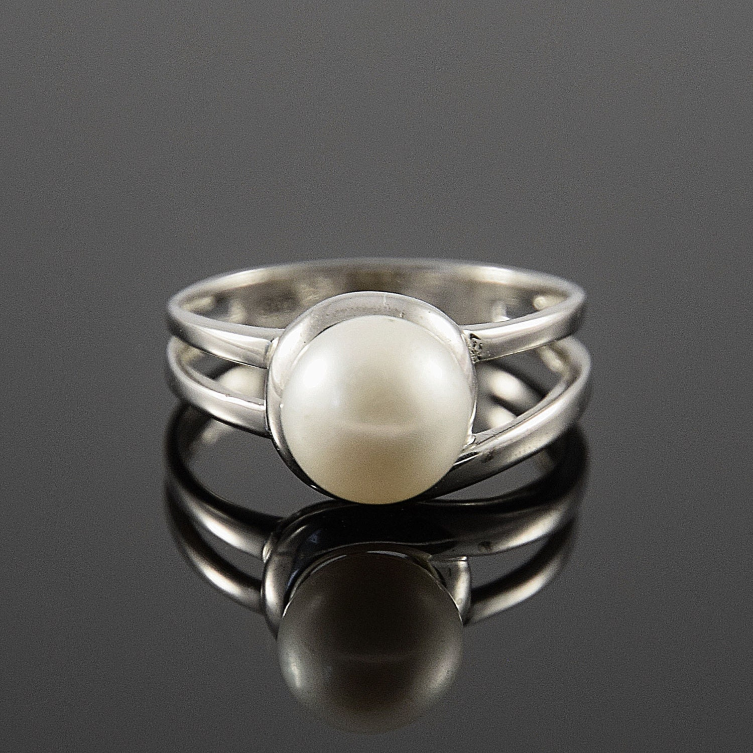 pearl ring silver pearl ring white pearl ring silver