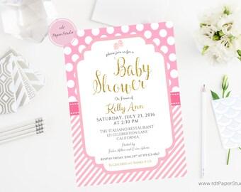 Gold Baby Shower, Baby Girl Shower, Custom Invitation, Custom Baby Invite, Baby Girl Party, Pink Shower Invite, Printable Invite