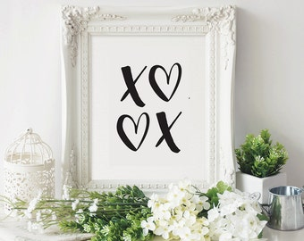 XOXO Print, Heart, Shape, Modern Minimalist, Wall Art, Home Decor, Digital Art, Printable, Black and White, Geometric, Love