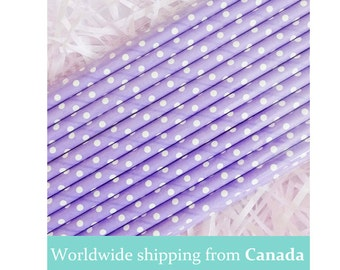 Purple Polka Dots Paper Straws / Party Straws / Drinking Straws - Perfect for Weddings and Parties