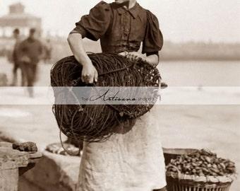 Digital Download Printable Art - Fisherman Fisherwoman Fishing Nautical Antique Portrait Photograph - Paper Crafts Scrapbooking Altered Art