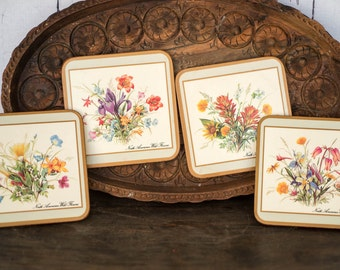 Vintage Wild Flowers Coasters Set - North American Wild Flowers Cork Back Coaster Set - Cottage Chic Floral Table Drink Coaster Set of Four