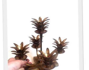 Hollywood Regency Brass Pineapple Candelabra Candle Holder Mid Century Luxury Centerpiece