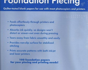 Papers for Foundation Piecing, 100 Count, New in Package, Quilting Supply