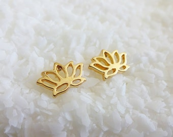 Gold Lotus Earring Studs with Post Backs - Small Lightweight Gold Lotus Blossom Earrings - Gold Flower Lightweight Earrings Studs Post Back