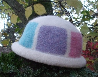 Pastel Patchwork Felted Wool Hat