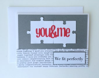 We Fit Perfectly Puzzle Card, Puzzle Piece Card, You and Me, Anniversary Card, Valentines Day Card, Card for Boyfriend, Card For Husband
