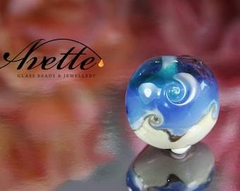 Ocean Blue Lampwork Focal bead.  Milky blue opalescent Double Helix.  Lentil pendant bead. Avetteglass Avette artisan handmade