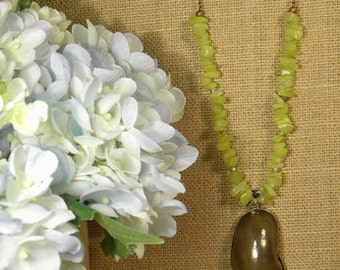 Green Jade, Purple Shell Pendant Necklace on a Antique Cooper Chain